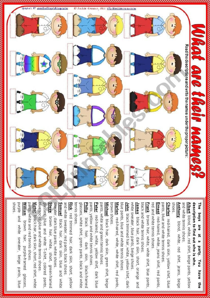 What are their names? - vocabulary (clothes, accessories, appearance, descriptions) + teacher´s handout with keys [2 pages] *editable